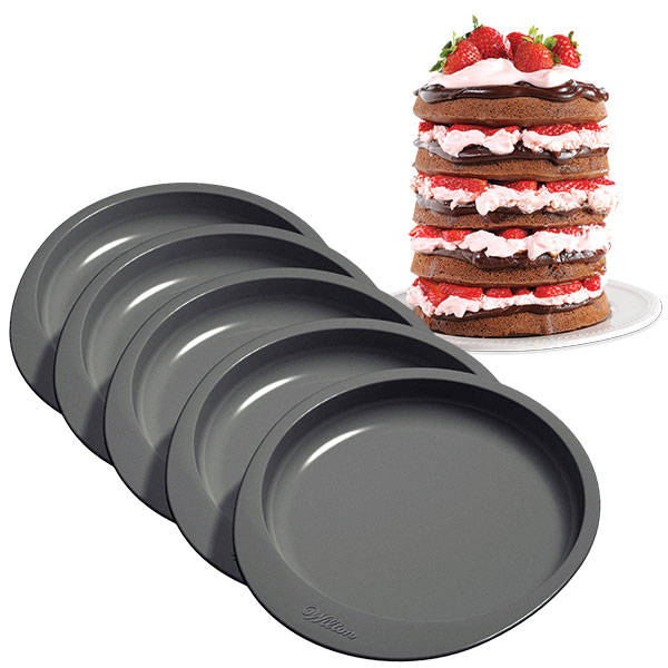 wilton easy layers 6 cake pan set 5 pc