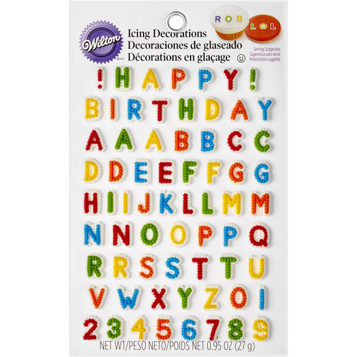 Cake Decorations Letters Uk : Wilton Letters & Numbers Edible Icing Decorations
