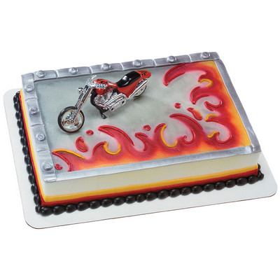 Red Chopper Motorcycle Cake Topper